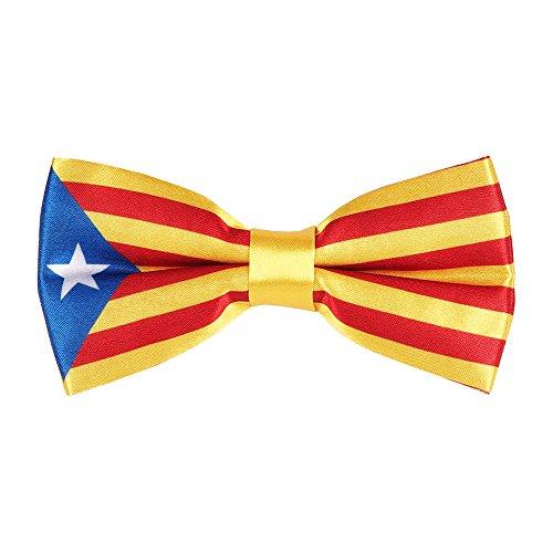 CravateSlim Noeud Papillon Drapeaux du Monde - Noeud Papillon Homme Prénoué (Drapeau Catalan)