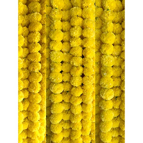 Marigold Garland/Artificial Flower Strings/Toran/Door Hanging/Window Valance/Pooja Decoration/Festival Decoration/Wedding Garland/Genda Flower/Indian Wedding Decoration.Amba AHTN308