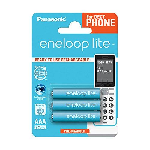 Panasonic eneloop lite, Ready-to-Use Ni-MH Akku, AAA Micro, 3er Pack, min. 550 mAh, 3000 Ladezyklen, geringe Selbstentladung, für Schnurlostelefone (DECT)