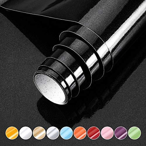 KINLO Klebefolie Möbel 0.61 * 5M schwarz Möbelfolie selbstklebende Tapete mit Glitzer PVC Dekorfolie wasserdicht Küchenschrank Folie für Wände Türen Möbel Deko