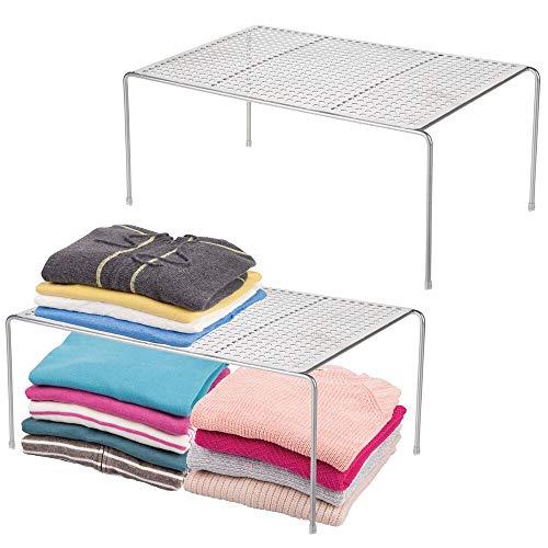 mDesign - Armario de metal moderno, armario, organizador de encimera, estante de almacenamiento para dormitorios, baños, entradas y pasillos, acero duradero, patas antideslizantes, 2 unidades, color platead