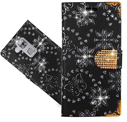 FoneExpert® Huawei Nova Plus Handy Tasche, Bling Diamant Wallet Hülle Flip Cover Hüllen Etui Hülle Ledertasche Lederhülle Schutzhülle Für Huawei Nova Plus