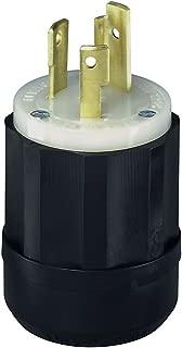 Leviton 2621 30 Amp, 250 Volt, NEMA L6-30P, 2P, 3W, Locking Plug, Industrial Grade, Grounding - Black-White