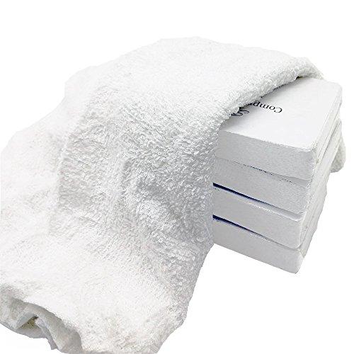 Toallas de mano 100% algodón comprimidas prácticas toallitas de viaje ampliadas al aire libre, color blanco, 12 x 24 pulgadas (5 unidades)