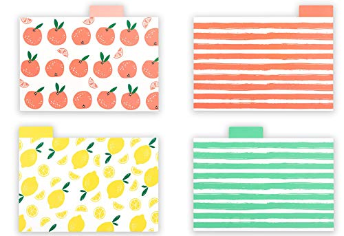 "Outshine 4"" x 6"" Fruit Lemon Orange Recipe Card Dividers with Tabs (Set of 24)   Recipe Holder Box Organizer   Durable Index Card Separators   Best Kitchen Gift"
