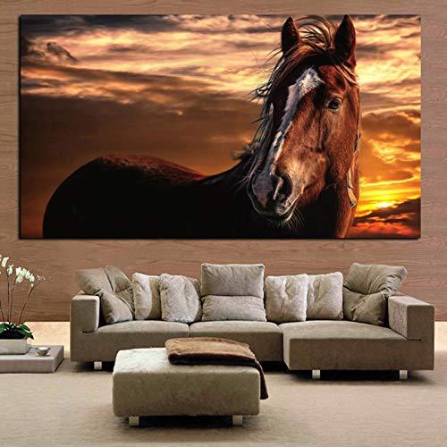 KWzEQ Permanentes Gesicht Sonnenuntergang Landschaft Tier braun Pferd Wandkunst Wohnzimmer Hauptdekoration,Rahmenlose Malerei,60x120cm