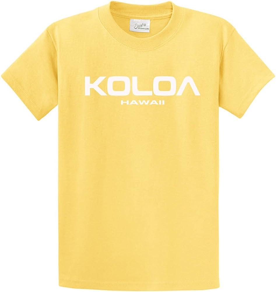 Joe's USA Koloa/Hawaii Text Logo T-Shirts in Size 4X-Large Tall -4XLT Yellow