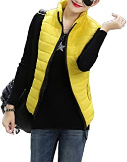 Macondoo Womens Winter Waistcoat Pocket Retro Quilted Jacket Stand Collar Vest