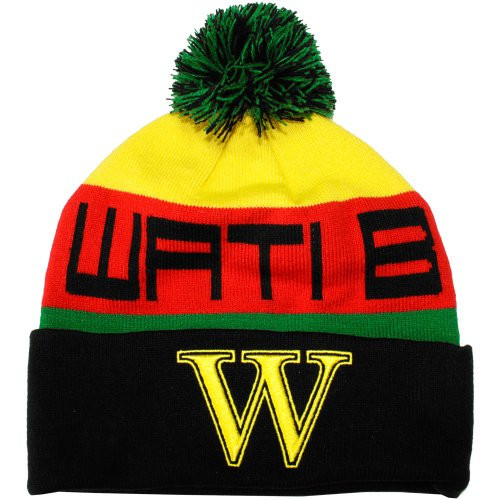 Wati B - Bonnet Homme Text Stripe - Black/Jamaica