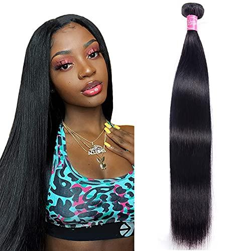 Human Hair Straight 1 Bundles Unprocessed Virgin Straight Human Hair Extensions Natural Color Weave Bundles 100grams (30, Natural Color)