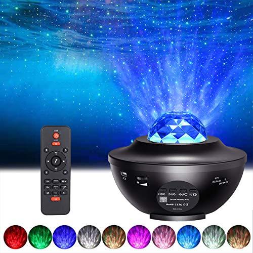Sternenhimmel Projektor Nachtlicht, ALED LIGHT Wasserwelle LED Sterne Projektor Lampe Eingebauten Bluetooth Lautsprecher Sound Sensor, USB Fernbedienung, für Baby Kinder Schlafzimmer, Haus Dekoration