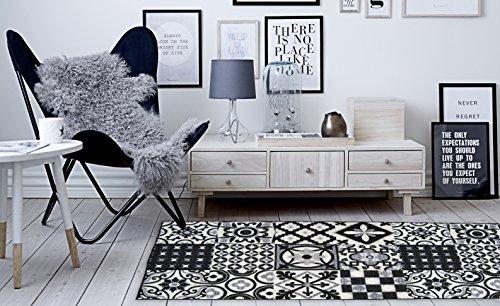 Tapis DE Salon, Couloir ET Cuisine Imitation Carreaux DE Ciment - DIFFERENTES Couleurs ET Tailles (Noir, 50x100cm)