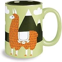Kitsch'n Glam Llama Ceramic Coffee Mug- 16 Ounce (Blue) (Green)
