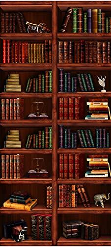 wandmotiv24 Türtapete Bücher-Regal, Schrank, Buch, Figur 100 x 200cm (B x H) - Vlies Sticker für Türen, Tür-Bilder, Aufkleber, Deko Wohnung modern M1108