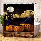 Stoff-Duschvorhang, Halloween-Kürbis-Lichter außerhalb des Schlosses & Fledermäuser, zauberhaftes schwarz-orangefarbenes Polyester-Tuch, bedruckter dekorativer Badezimmer-Vorhang mit Haken (0362)