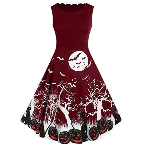 Masrin Frauen kleiden Art- und Weiseweinlese-ärmelloses Oansatz Halloween-Kürbis-Druck-Ballkleid(S,Wein)