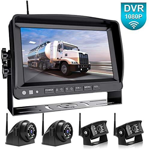 """Fookoo 1080P 9"""" Wireless Backup Camera System Kit, 9"""" HD Quad Split Monitor with Recording, IP69 Waterproof Rear View Side View Cameras with Parking Lines, Universal for RV/Truck/Trailer/Bus backup Cameras Vehicle"""