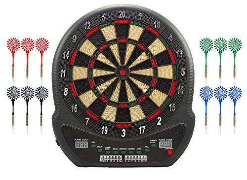 Best Sporting elektronische Dartscheibe Blackpool Dartboard mit 12 Dartpfeilen und Ersatzspitzen, Dartautomat mit LED-Anzeige und Netzadapter
