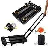 Folding Hand Truck, 450lbs Capacity 6 Wheels Heavy Duty Folding Luggage Trolley Cart with Stretchable Expansion Base, Bungee Cord, Fold Up Dolly for Luggage/Personal/Travel/Auto/Moving/Office Use