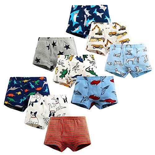 Ecloud Shop 9 Stück Kinder Jungen Boxershorts Baumwolle Cartoon-Muster Unterwäsche für Jungen Slips Komfort und weich Kinderunterwäsche (Höhe:110 cm)
