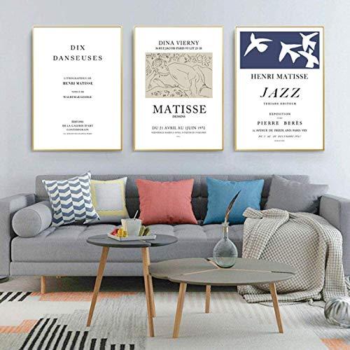 YHJK Impresión de Arte de Pared Pinturas de Arte Abstracto de Henry Matisse Figura Pintura Arte de la Pared Carteles e Impresiones Imágenes de la Pared del hogar Decoración 3x30x50cm sin Marco