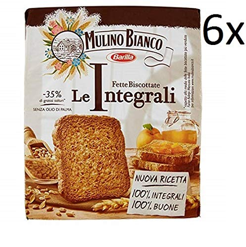 6x Mulino Bianco Fette Biscottate Volkoren 315 g Vollkorn Zwieback aus italien