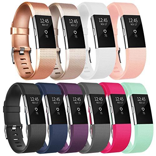 Tobfit für Fitbit Charge 2 Armband, Ersatz Silikon Sport und Fitness Armbänder für Fitbit Charge 2 (Kein Uhr) (S, Klassische 10-Pack)