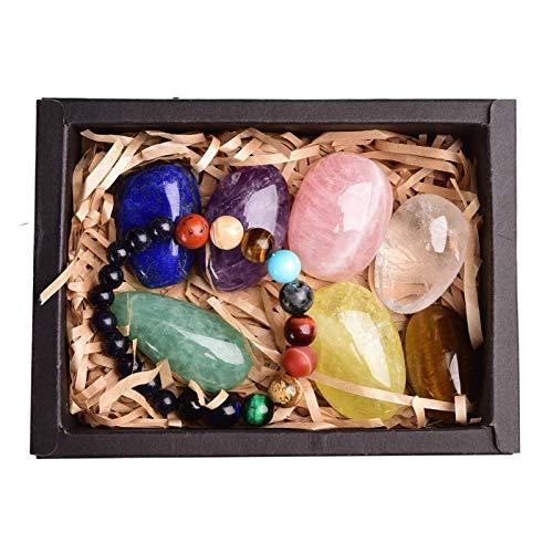 WSJKL 8pcs Natural Crystal Piedra Original Siete Chakra Curación Curación de Piedra Méter Emplace Colección Caja de Regalo (Color : Box 1)