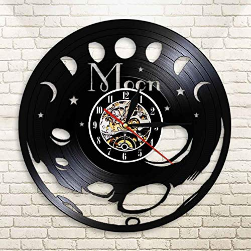 BFMBCHDJ 3D Space Moon Wall Clock Led Backlight Color Changing Vinyl Record Watch Moon Vintage Black Hanging Horloge with LED 12 Inches