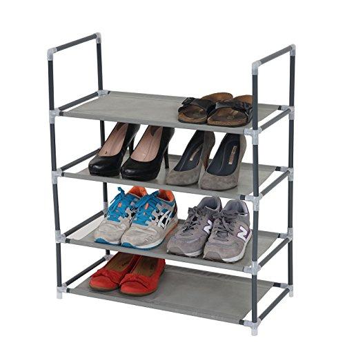 Mendler Schuhregal Brügge, Schuhablage Schuhständer Steckregal, 4 Ebenen für 8 Paar Schuhe