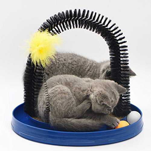 4 in 1 multifunction Self Grooming Cat Arch- Bristle Ring Brush and Carpet Base Groomer, Massager,...