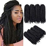 4 paquetes de cabello trenzado Extensiones afro rizadas Trenzas de ganchillo retorcidas Cabello sintético 20 pulgadas (1B #)