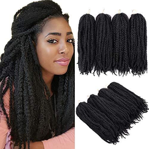 4 Packungen Flechten Haare Afro Kinky Extensions Twist Crochet Braids Kunsthaar 20 Zoll (Schwarz)