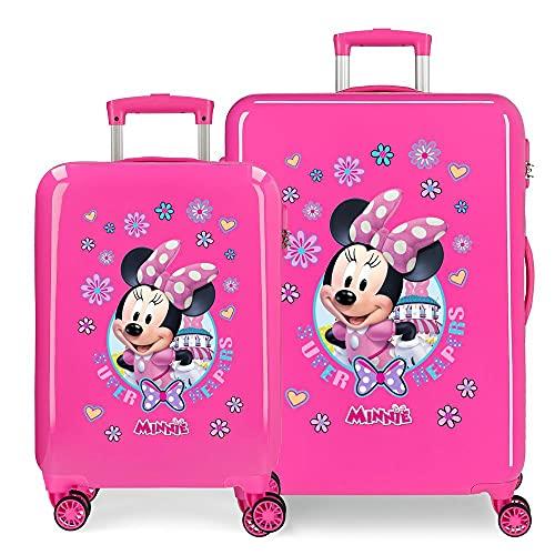 Disney Minnie Super Helpers Juego de Maletas Rosa 55/68 cms Rígida ABS Cierre de combinación Lateral 104 6 kgs 4 Ruedas Dobles Equipaje de Mano