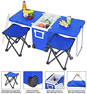 ZFRANC Rolling Cooler Foldable Stools,Outdoor Picnic Foldable Multi-Function Rolling Cooler Upgraded Stool with Table & Chair Outdoor Recreation for Camping Sports Beach Travel