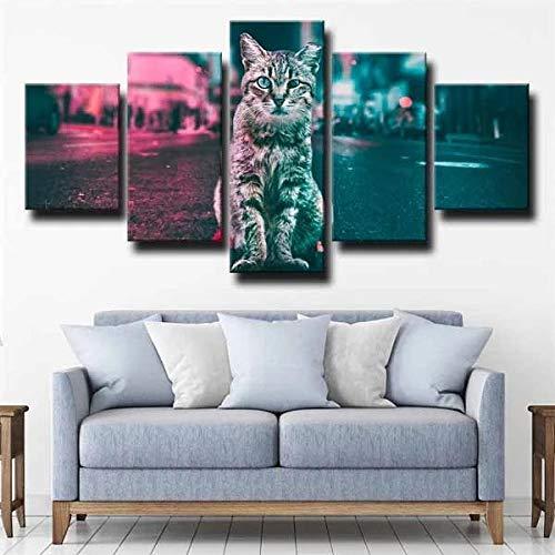 IJNHY Cuadro En Lienzo 150×80Cm 5 Piezas Cuadro sobre Lienzo Bobtail Cat Street Bokeh No Tejido Impresión En Lienzo Decoracion Pared Regalo Creativo Cuadros para Dormitorios