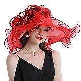 Go Mai Women Hats Organza Butterfly Decoration Wide Brim Occasion Event Kentucky Derby Church Dress Sun Hat Red