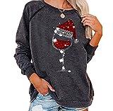 Jersey para Mujer Sombrero de Navidad Camiseta con Estampado de Copa de Vino Tinto Camiseta Informal de Manga Larga con Cuello Redondo