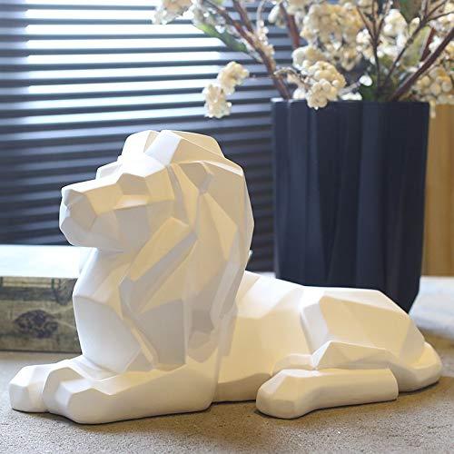 KUAQI decoración del hogar Vintage de Escritorio statuas Jardin Decorativas,Geometría Origami León Escultura Resina Fauna Africana Depredador Estatua/Feng