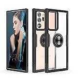 Funda Galaxy Note 20 Ultra, Cubierta Caja Protectora híbrida eléfono diseño Fibra Carbono cristalina con [Soporte Soporte Anillo] [Función Montaje magnético automóvil] para Galaxy Note 20 Ultra,Negro