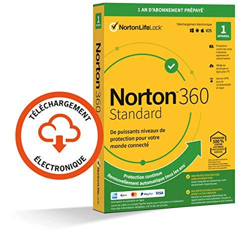 Norton 360 Standard 2021 | 1 Appareil | Antivirus, Sécurité Internet, Gestion Mots de Passe, Protection Webcam, VPN, 10 GO Stockage Cloud | 1 An | PC/Mac/Android/iOS