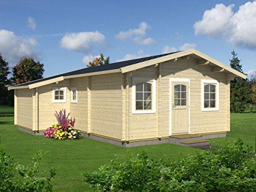 *Wochenendhaus Prunus P8 inkl. Fußboden, naturbelassen – 70 mm Blockbohlenhaus, Grundfläche: 39,20 m², Satteldach*