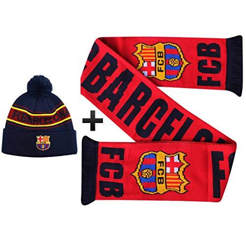 FCB Officiële FC Barcelona (La Liga) Voetbal Ski Hoed & Sjaal Geschenkset (100% Acryl)