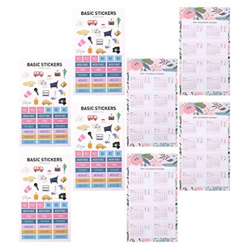 Amosfun 8 hojas de pegatinas de calendario 2021, planificador mensual, adhesivas, pestañas separadoras para bloc de notas