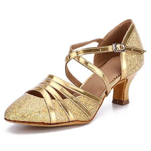HROYL Zapatos de Baile para Mujer Brillo de Cuero Latino/Chacha/Samba/Moderno/Zapatos de Baile de Jazz Gold 35 EU