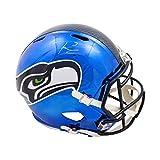 Russell Wilson Autographed Seahawks Chrome Full-Size Football Helmet - RW Holo