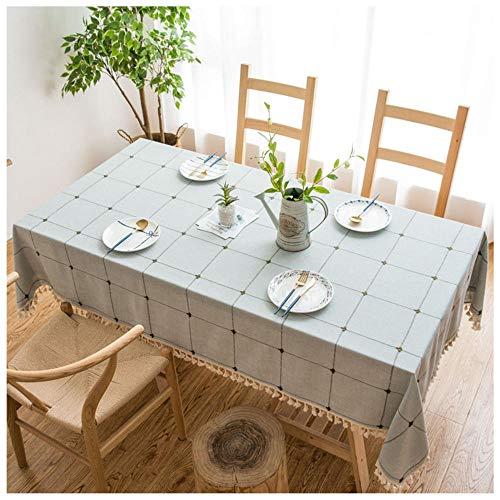 WLI Mantel Rectangular de Lino de algodón, 120x160cm, Gris Mantel con borlas de Color sólido, Cubierta de Mesa Decorativa a Prueba de Polvo para Cocina, Comedor, Mesa de Picnic
