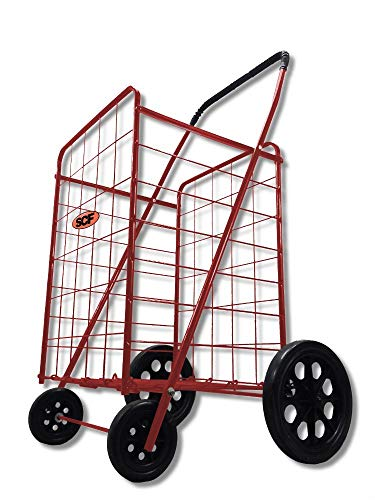 Extra Large Heavy Duty Folding All Purpose Utility Shopping Grocery Luggage Storage Cart Jumbo Size with Swivel Wheels-Capacity up to 150 lb, Red (Red Cart only)