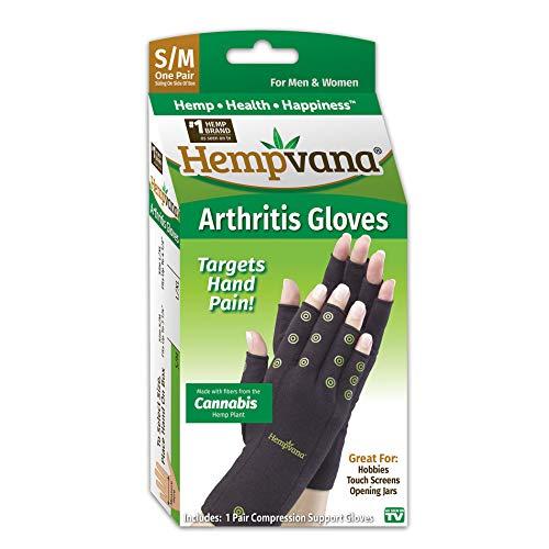 Hempvana Arthritis Compression Gloves - Fingerless Gloves Made with Cannabis Hemp Plant Fibers - Support for Wrist & Hands (S/M)