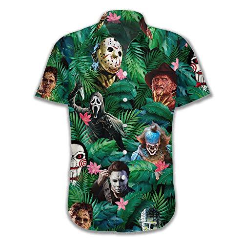 빈티지 버전 재미있는 하와이 호러 할로윈 열대 꽃 해변 선물 캐주얼 쇼트 슬리브 버튼 셔츠